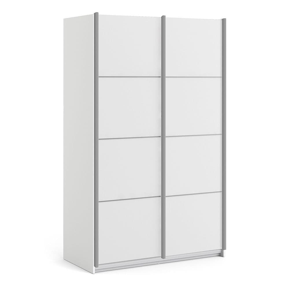 Valerian Sliding Wardrobe 120cm in White with White Doors with 5 Shelves in White